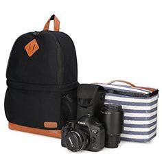 Kattee mochila de lona para SLR DSLR Cámara con Soporte para trípode y funda impermeable y portátil espacio negro