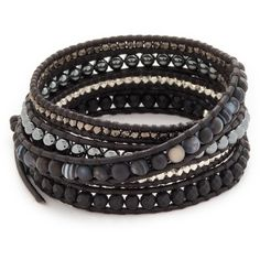 Chan Luu Wrap Bracelet ($230) ❤ liked on Polyvore featuring jewelry, bracelets, matte black sardonyx mix, wrap bracelet, beaded bangles, beads jewellery, adjustable bangles and chan luu jewelry