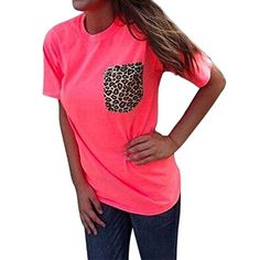 FUNOC Ladies Women Loose Leopard Printing Chiffon Casual Tops T Shirt Blouse *** Read more reviews of the item by visiting the link on the image.