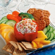Old Bay Party Dip - For a festive presentation, serve dip in a seeded bell pepper.