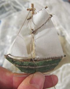 The Gjoa by Ann Wood by velma Boat Crafts, Ann Wood, Arts And Crafts, Paper Crafts, Paper Ship, Driftwood Crafts, Paperclay, Mini Things, Soft Sculpture