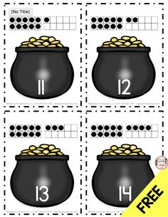 FREEBIE Pots of Gold Teen Numbers - Count and Match with Rainbows - Leprechaun and St. Patrick's Day freebie worksheets - Kindergarten Math and Literacy Centers for Saint Patty's Day Kindergarten Centers, Math Literacy, Kindergarten Math Worksheets, Preschool Math, Teaching Kindergarten, Math Centers, Math Activities, Math Vocabulary, Numeracy
