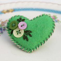 Little felt and button brooch - 'Heart Felt' - Green and Pink - FREE UK P £4.75