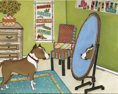 Doggies In The Mirror ~ Jamie Morath Art art, mixed media, painting, bedroom, green, mirror, turquoise, rug, orange chair, pit bull, love, dog, dogs, pillow, dresser