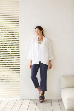 Pure Jill linen studio jacket paired with the linen slim crops
