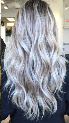 Silver Blonde, Ash Blonde Hair, Balayage Hair Blonde, Wedding Hair Extensions, Cute Hair Colors, Colored Hair Tips, Long Gray Hair, Rides Front, Hair Color Dark