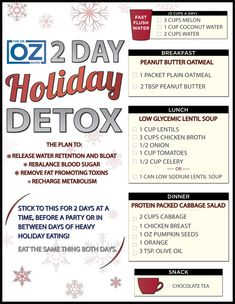 Dr. Oz's Holiday Detox Printable One-Sheet | The Dr. Oz Show