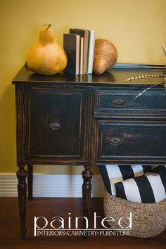 antique buffet painted in General Finishes Milk Paint in Lamp Black distressed