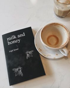 milk and honey with drained coffee