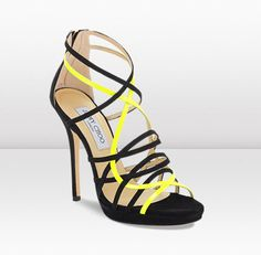 Myth  $895.00  Black Suede and Neon Yellow Patent Platform Sandals