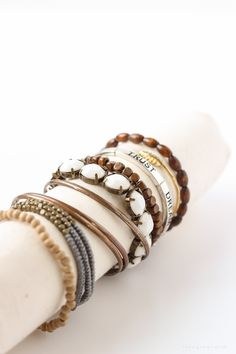 Organize and showcase your jewelry with this simple DIY Bracelet Holder. Just a few basic supplies needed for this easy project!