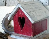Rustic Red Valentines Day Birdhouse with Heart Home and Garden Decor