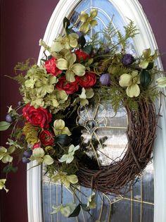 Spring Wreath Summer Wreath Grapevine Door Wreath Decor