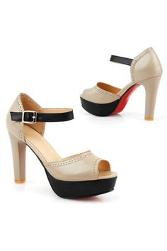 Fashion Peeptoe Color Block Leather High Heel Sandals - OASAP.com