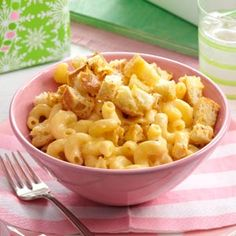 Macaroni and Cheese with Garlic Bread Cubes Recipe from Taste of Home -- shared by Amy Warren of Maineville, Ohio