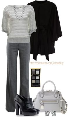 """Knitted Grey Jumper & Pleated Pants"" by casuality on Polyvore"