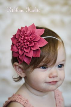 Big Felt Flower Headband for Girls in Pink Rose by Ribbonhabit