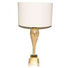 Art nouveau craquelure glass table lamp.