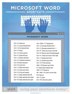 Microsoft Word Keyboard Shortcut PC Printable by brigetteidesigns