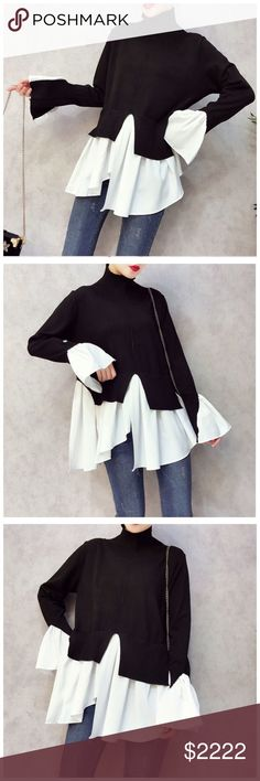 """Black & White Asymmetrical Tail Sweater Top ‼️ PRICE FIRM ‼️ 10% DISCOUNT ON 2 OR MORE ITEMS FROM MY CLOSET ‼️   Flowing Tail Top Retail $99 NEW WITH TAGS  Soft sweater fabric with a flowing tail. This is absolutely fabulous. Due to the stretch it will fit a wide range of sizes. Lots and lots of stretch for a perfect & comfortable fit. 65% polyester,  35% acrylic.  ONE SIZE Bust 39"""" to 48"""" Length 28"""" Tops"""