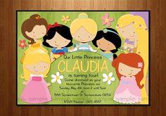 Disney Princesses Printable Birthday Invitation - Bag Tag Available - DIY Printing. $16.00, via Etsy.