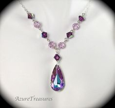 Swarovski Purple Crystal Necklace, Teardrop Pendant, Vitrail Light & Amethyst Sterling Silver Bridesmaids, Bridal Wedding Jewelry