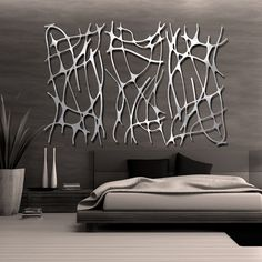 Art Nouveau Web Trio In Brushed Aluminum Free Shipping Living Room Ideas Modern Contemporarycontemporary Metal Wall