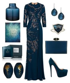 """Midnight blue to Cannes"" by tisley on Polyvore featuring mode, Elie Saab, Christian Louboutin, Judith Leiber, Monique Péan, Ippolita, Bloomingville, Leftbank Art et Molton Brown"