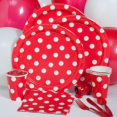 Red Polka Dot Party Pack, Red and White Polka Dot Party Pack