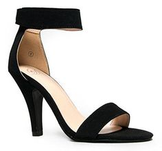 Delicious Rosela Open Toe High Heel Ankle Strap Sandal,6.5 B(M) US,Black nubuck