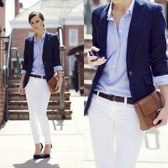 white jeans, light blue popover and navy jacket