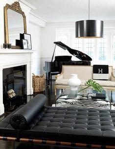 Black And White Living Room, Black And White Interior, Black White, White Gold, White Rooms, White Walls, Living Room Designs, Living Spaces, Living Area