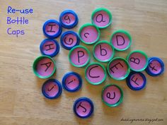 Bottle Cap Letter Matching and Memory Game