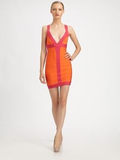 Love this hot pink & orange Herve Leger color block bandage dress!