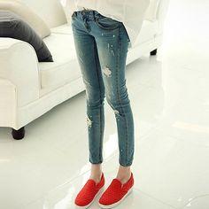 Fashion Broken Hole Slim Fit Elastic Jeans  #womenfashion #popular #beauty