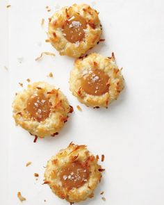 Coconut Thumbprint Cookies with Salted Caramel. Two of my favorites, coconut and carmel!
