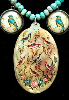 Persian Painting on Mother-of-Pearl w/Birds by SilkRoadJewelry