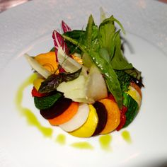 Warm vegetable salad… The best veggie presentation I have ever seen! At Il San Pietro (Michelin starred restaurant.) Overall amazing experience and beautiful food presentation but food… not gushing over it.