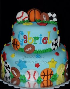 sports cake ideas Oh yeah I made the topper out of gumpaste