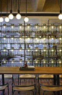 Lemonade jar lighting at The Barbican [Q: what about carboy or wine bottle lighting?] #lighting