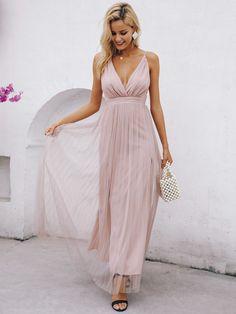 559b06cdbec3 Criss-cross Backless Split Thigh Mesh Slip Prom Maxi Dress - Popviva  #SequinDress #