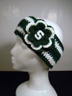Crocheted Earwarmer Michigan State with by OliviaRyanbyDGuess, $17.00