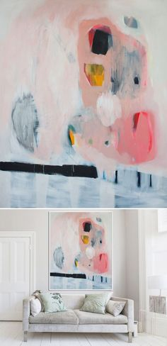 Sigh. So pretty. This is the big, bold, beautiful work of Irish artist Lola Donoghue. Her colors and compositions are stunning… and look how big they are! I love those over the couch shots – very help