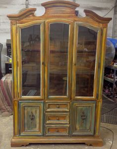 Beautiful china cabinet done in milk paint chalk paint and glaze shabby chic 450.00