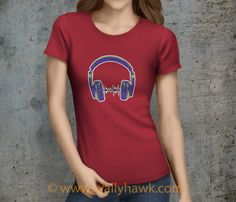 Headphones Shirt - Female Crimson