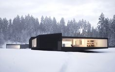 From The Black Desert House to a black house in the snow, this project is called 'Twins: Houses in Five Parts' and was designed by William O'Brien Jr. These are two ultra-modern, minimalist holiday homes. Residential Architecture, Interior Architecture, Minimal Architecture, Beautiful Architecture, Interior Design, Room Interior, Contemporary Architecture, Residential Land, Luxury Interior