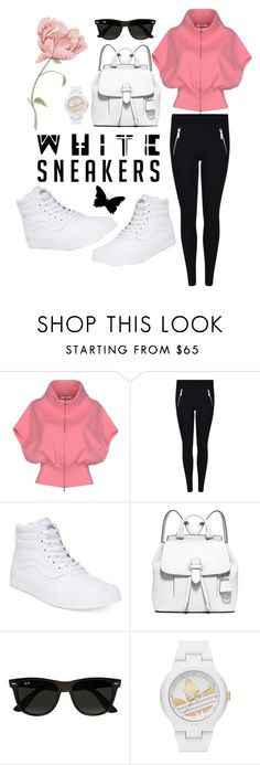 """""""Layla"""" by itsmarselina ❤ liked on Polyvore featuring Dorothee Schumacher, MICHAEL Michael Kors, Vans, Ray-Ban, adidas, sportylook and whitesneaker"""