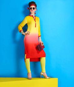 Yellow Viscose Rayon Readymade Kurti 63385
