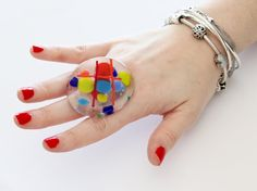 Big Cocktail Ring Glass boho fashion unique ring by StudioLeanne