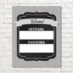 Wifi Password Printable // INSTANT DOWNLOAD // Free by EensyAva